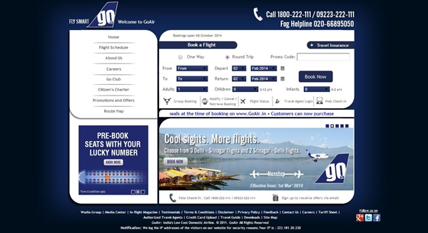 GoAir 20% Off Domestic Flight Return Fares Coupon Code Valid till 9th March 2014