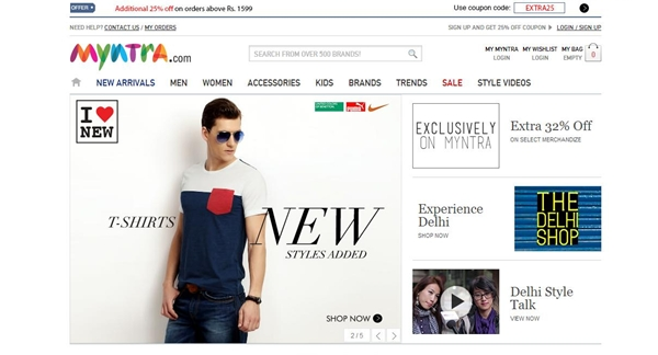 Myntra 25% Off Coupon For All Fashionable Cloths, Foot Wears & Accessories January 2015
