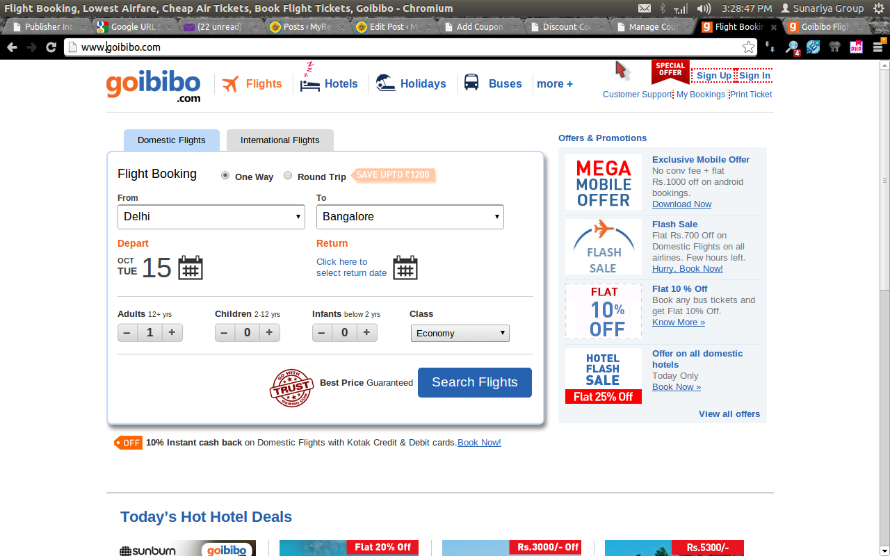 promo code for domestic flights goibibo