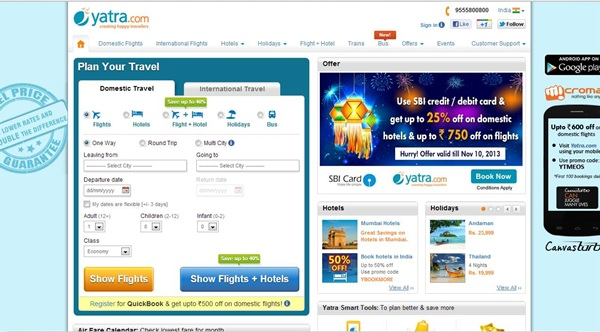 Yatra Holi Coupon Upto 55% on Hotels Booking March 2014